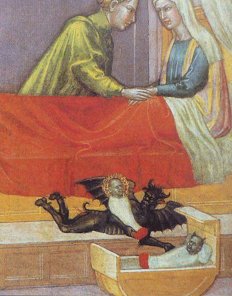 """Djevelen bytter ut det ekte barnet med en bytting. (Detalj fra """"Legenden om St. Stefanus"""" av Martino di Bartolomeo.)"""