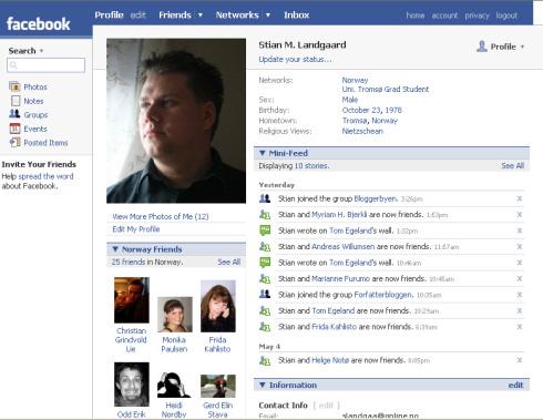Stian M. Landgaards Facebook-profil 6. mai 2007.