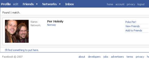 Per Heimlys profil på Facebook.