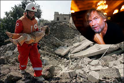 Jostein Gaarder er opprørt over bildene fra Qana. Foto: VG Nett / EPA og Propaganda-as / Scanpix.