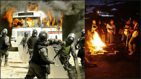 Montasje av opprørspoliti og opprørte studenter i Mexico. (Fotos: Scanpix.)